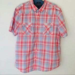 American Rag Short Sleeve Plaid Button Up XLarge